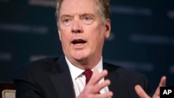 FILE - U.S. Trade Representative Robert Lighthizer speaks at the 9th China Business Conference at the U.S. Chamber of Commerce in Washington, May 1, 2018.