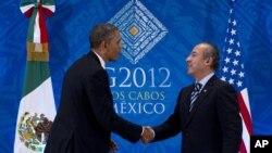 El presidente Barack Obama saluda a homólogo mexicano, Felipe Calderón, durante una reunión bilateral en el marco de la Cumbre del G-20, en Los Cabos, México.