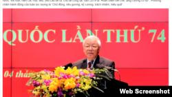 Tổng Bí thư, Chủ tịch nước Nguyễn Phú Trọng phát biểu tại Hội Nghị Công an Toàn quốc ngày 1/3/2019. Báo Nhân dân