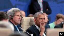 باراک اوباما و جان کری رئیس جمهوری آمریکا در نشست ناتو در ورشوی لهستان- جمعه ۸ ژوئیه
