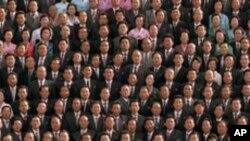 김정일 부자와 노동당 대표들