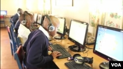 Students study using assistive technology at the Thika School for the Blind