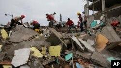 Des bénévoles à la recherche de survivants dans les ruines à Pedernales, Equateur, le 17 avril 2016.