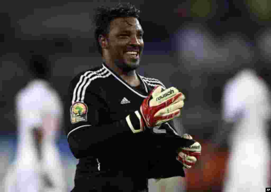 "Sudan's goalkeeper Akram El Hadi Salim celebrates after his team scored against Burkina Faso during their African Nations Cup Group B soccer match at Estadio de Bata ""Bata Stadium"", in Bata January 30, 2012."
