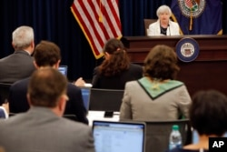Federal Reserve Chair Janet Yellen speaks at a news conference following the Federal Open Market Committee meeting in Washington, Sept. 20, 2017.