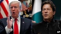 Presiden AS Donald Trump (kiri) dan PM Pakistan Imran Khan. (Foto: dok).