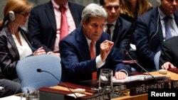지난 19일 미국 뉴욕 유엔 본부에서 열린 유엔안보리 회의에서 존 케리 미국 국무장관이 발언하고 있다. (자료사진)