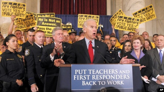 Vice President Joe Biden speaks during a news conference urging the passage of the Teachers and First Responders Back to Work Act,  Oct. 19, 2011, on Capitol Hill in Washington.