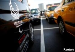 Mobil 'JPN Taxi' buatan Toyota Motor terparkir di pusat servis Hinomaru Kotsu Co. di Tokyo, Jepang, 14 Mei 2018.