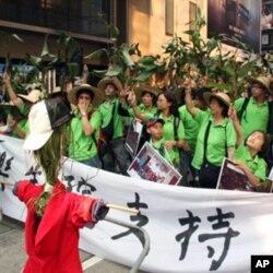 抗议者穿着绿色服装挥舞绿色富贵竹叶推着人力车