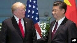 美國總統川普與中國國家主席習近平2017年7月在G-20 會議期間會晤。(資料圖片)