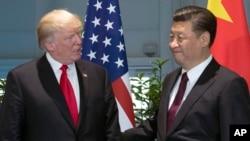 资料照 美国总统川普与中国国家主席习近平2017年7月在G-20 会议期间会晤
