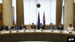 """Ministar unutrašnjih poslova Ivica Dačić je danas u Palati Srbija otvorio okrugli sto """"Monitoring i kontrola slobodnog viznog režima sa EU - Nacionalni odgovor""""."""