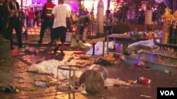 Scene of bomb blast in central Bangkok, Aug. 17, 2015. (Photo: Zinlat Aung for VOA)