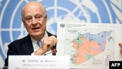 Utusan PBB untuk Suriah, Staffan de Mistura berbicara di Jenewa, Swiss (foto: dok).