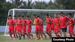 ملی پوشان افغان در جریان تمرین روز دوشنبه در مالدیف
