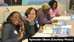 Volunteers with Continental Africans for Obama (now UPAC) work the phones during the 2012 presidential campaign.