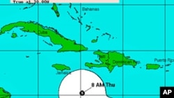 Tomas' position as of Monday and the storm's predicted track