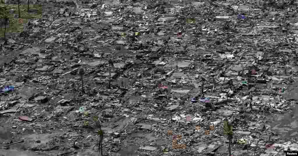 An aerial view of the ruins of houses after the devastation of super Typhoon Haiyan in Tacloban city in central Philippines, Nov. 11, 2013.