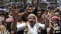 Người biểu tình ở Sanaa, Yemen đòi Tổng thống Ali Abdullah Saleh từ chức, ngày 12 tháng 5, 2011