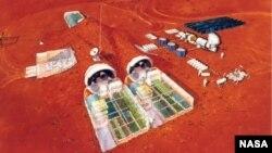 تصویری خیالی از ساخت و سازهای انسان روی مریخ
