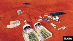 مریخ پر تصوراتی انسانی بستی میں کاشت کاری۔ ناسا