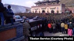 Photo posted on social media site Weibo purports to show heavy Chinese military presence at Tibetan prayer festival.