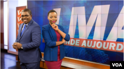 John Lyndon (L) and Anasthasie Tudieshe (R) host VOA French daily television show LMA TV.