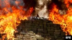 Mexico thiêu hủy cần sa và các chất gây nghiện khác.