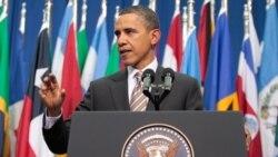 باراک اوباما در حال سخنرانی در شیلی