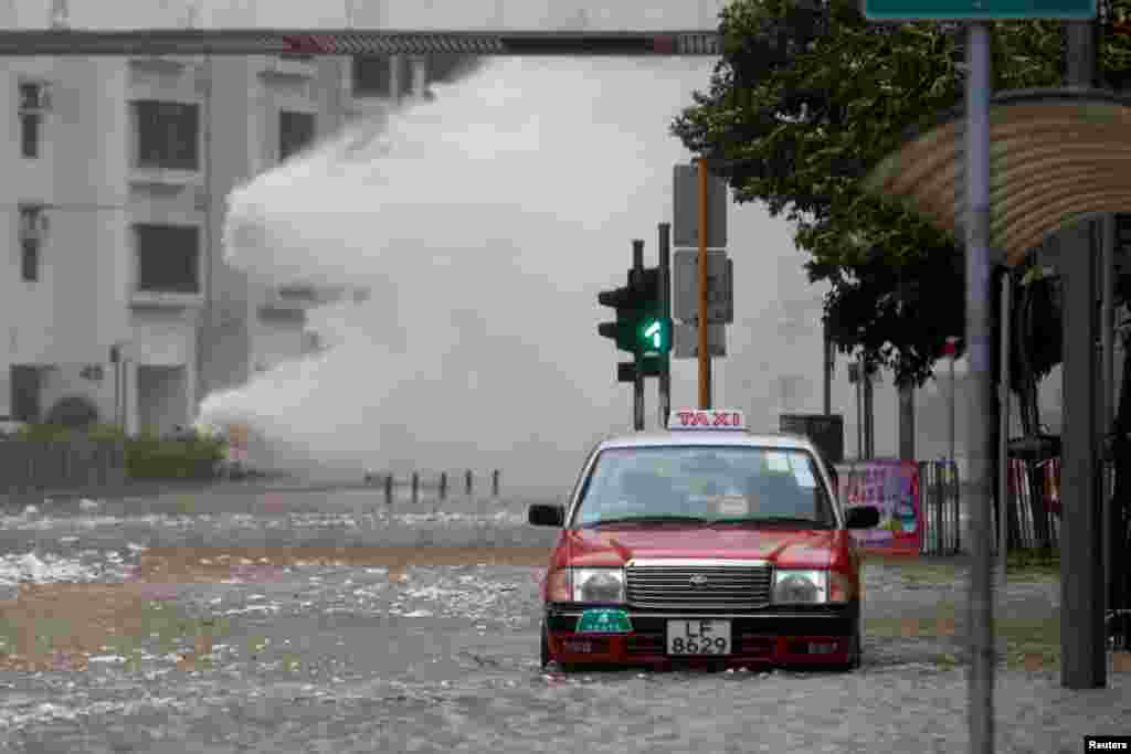 Waves triggered by Typhoon Hato are seen in Hong Kong, China.