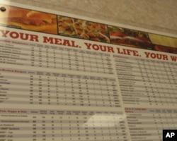 汉堡王悬挂了店里食物成分和热量表