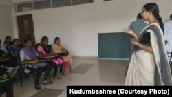 The group of transgender people selected for jobs at Kochi Metro undergo a training session organized by Kudumbashree, an organization focused on poverty eradication and women's empowerment in Kerala.