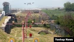 지난 5월 살아있는 탄저균이 잘못 배달된 경기도 평택 주한미군 오산 공군기지 상공에서 '탱크 킬러'로 유명한 지상 공격기 A-10기가 착륙을 준비하고 있다.