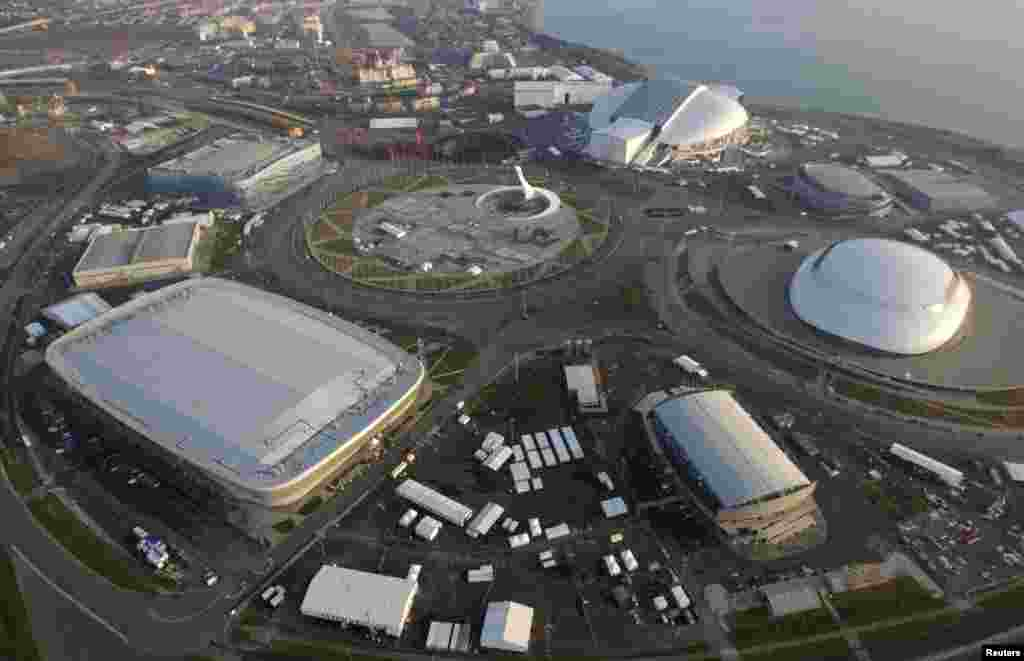 An aerial view from a helicopter shows the Olympic Park in the Adler district of the Black Sea resort city of Sochi.