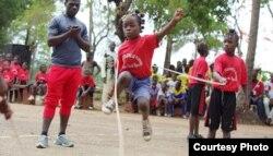 Mama Camara, center, trains in double Dutch jump rope. (Courtesy photo / International Medalist Association)