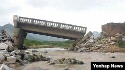 지난달 29일 내린 폭우로 침수된 남포시.