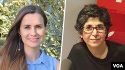 فریبا عادلخواه شهروند ایرانی- فرانسوی (راست) و کایلی مور گیلبرت، شهروند استرالیایی زندانی در ایران