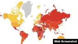 """""""Transparency International"""" hisoboti: unda sariq rang - korrupsiyadan nisbatan yiroq mintaqalar, qizil rang - korrupsiya avj olgan hududlar"""