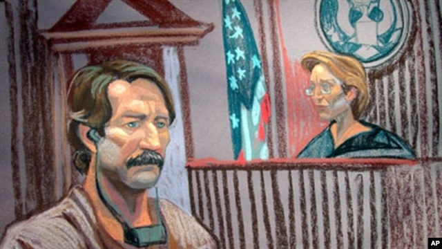 A courtroom sketch shows Viktor Bout (L) at Federal court with Judge Shira Scheindlin on 17 Nov 2010, New York