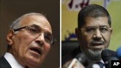 ຜູ້ສະໝັກສອງທ່ານ ທີ່ມີຄະແນນສູງສຸດ ໃນການເລືອກຕັ້ງປະທານາທິບໍດີ ອິຈິບ ຮອບທໍາອິດ ຄື ທ່ານ Mohammed Mursi (ຂວາ) ພັກພະລາດອນພາບມຸສລິມ ທີ່ມີຄະແນນນໍາໜ້າ ແລະອະດີດນາຍົກລັດຖະມົນຕີ Ahmed Shafiq (ຊ້າຍ) ຜູ້ນິຍົມແນວທາງໂລກ ມີຄະແນນລອງ