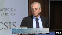 2018年11月9日,特朗普贸易顾问彼得·纳瓦罗在战略与国际研究中心发表讲话。(视频截图)