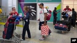 Các thành viên đội tuyển Olympic Nga tại Sân bay Quốc tế Rio de Janeiro, Brazil, ngày 29 tháng 7 năm 2016.