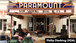 The Paramount Theatre in Clarksdale, Mississippi. It is currently closed, but the outside serves as a venue for blues musicians during the Juke Joint Festival, a blues festival held every year in Clarksdale, Mississippi.