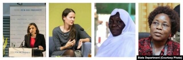 Women of Courage 2016 Awardees Zhanna Nemtsova, Zuzana Stevulova, Awadeya Mahmoud and Vicky Ntetema.