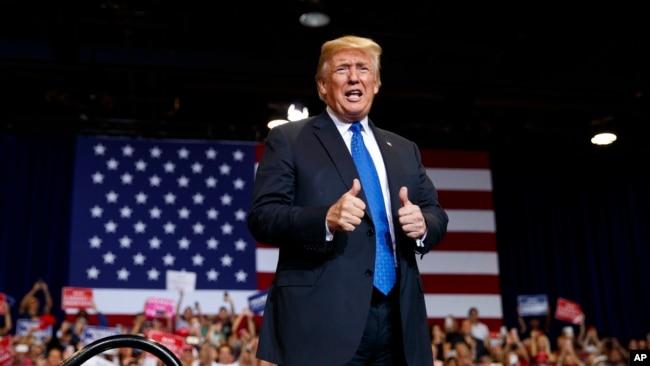 特朗普2018年9月20日在拉斯维加斯参加一场集会(美联社)