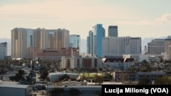 A view of the part of Las Vegas known as 'The Strip' from the UNLV campus.