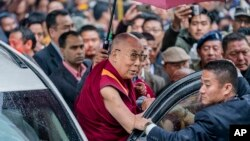 Tibetan spiritual leader the Dalai Lama arrives at the Thubchok Gatsel Ling Monastery in Bomdila, Arunachal Pradesh, India, April 4, 2017.