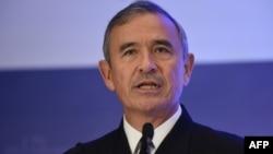 해리 해리스 미군 태평양사령관이 17일 싱가포르에서 열린 국제전략연구소 주최 토론회에서 연설하고 있다.