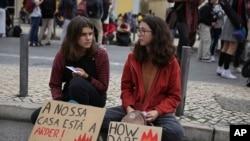 在里斯本举行的气候抗议集会。(2019年11月29日)